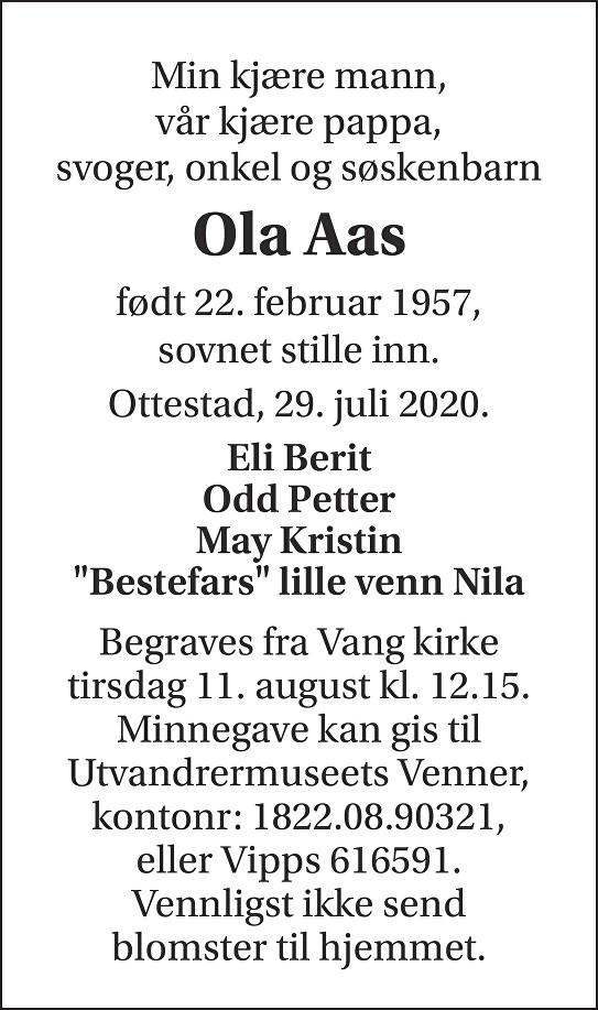 Ola Aas Dødsannonse