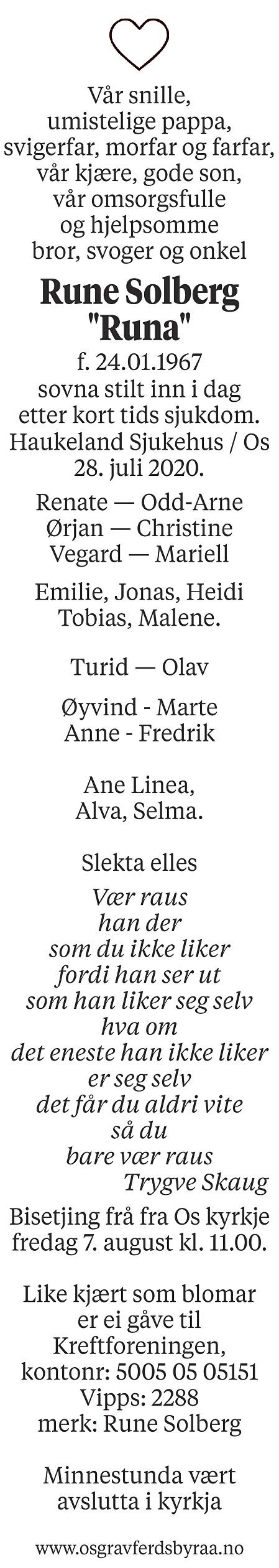 Rune Solberg Dødsannonse