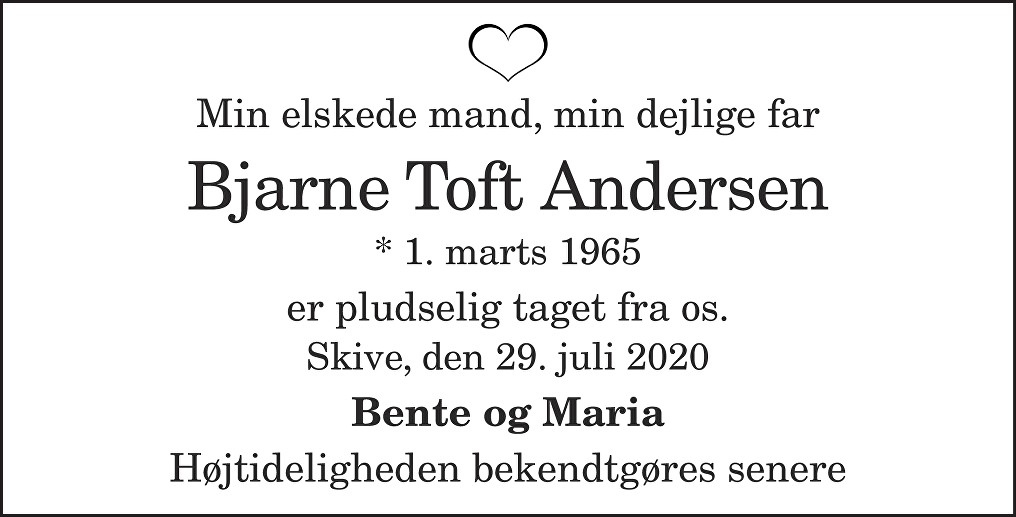 Bjarne Toft  Andersen Death notice