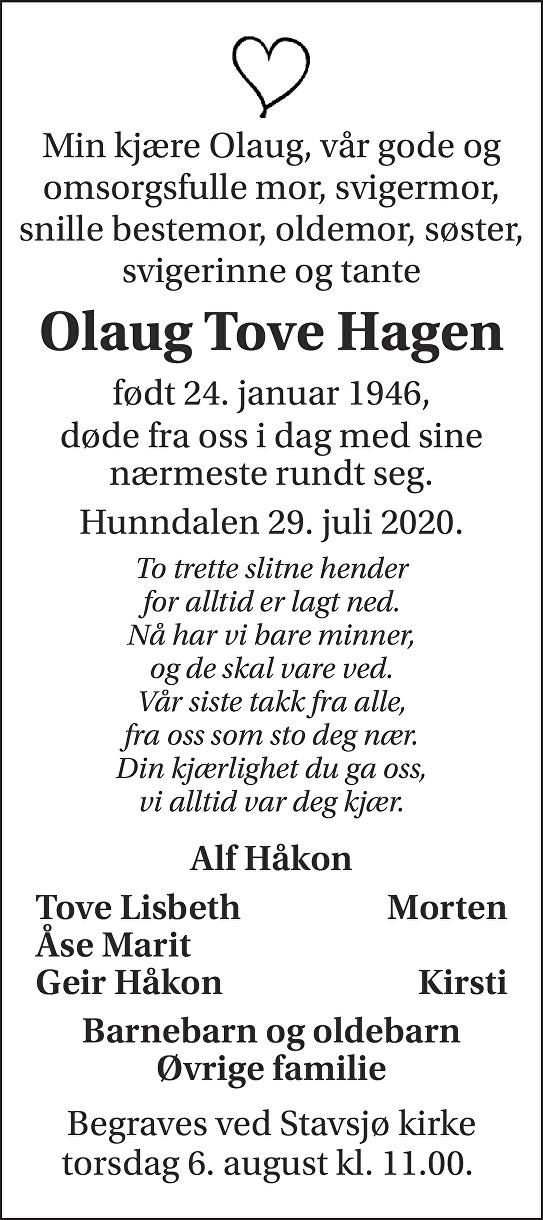 Olaug Tove  Hagen Dødsannonse