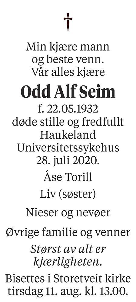 Odd Alf Seim Dødsannonse