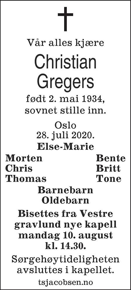 Christian Gregers Dødsannonse