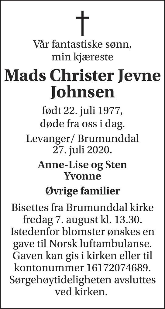 Mads Christer Jevne Jonsen Dødsannonse
