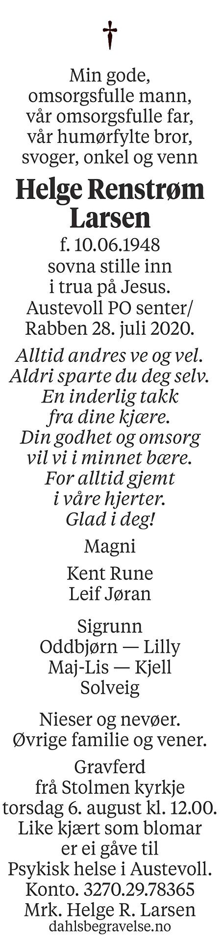 Helge Renstrøm Larsen Dødsannonse