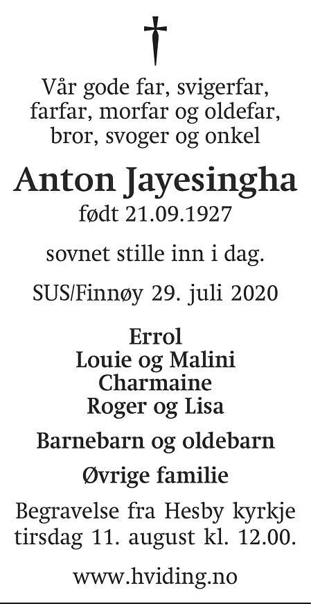 Anton Jayesingha Dødsannonse