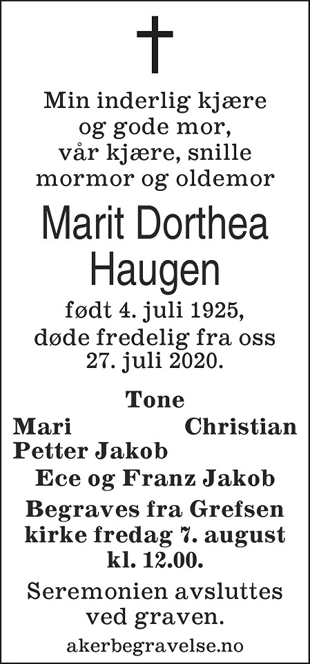 Marit Dorthea Haugen Dødsannonse