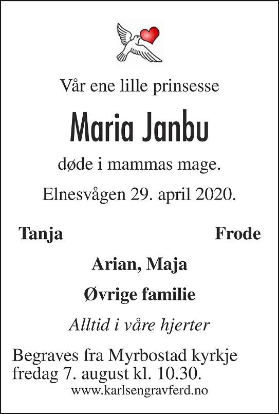 Maria Janbu Dødsannonse