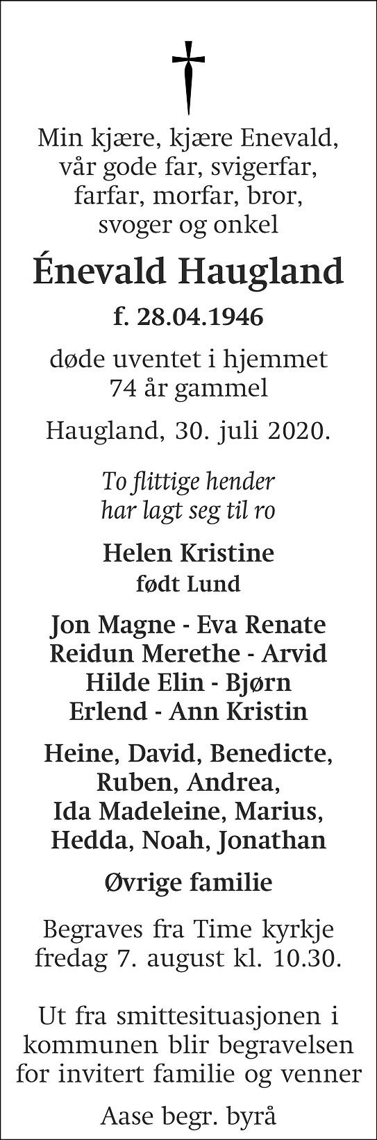 Énevald Haugland Dødsannonse