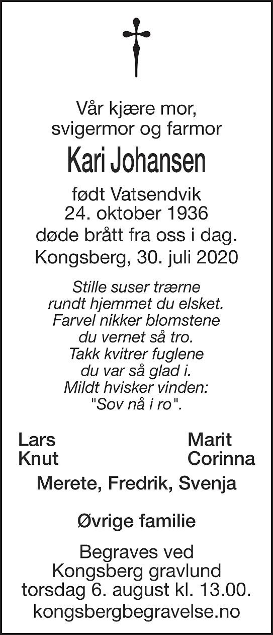 Kari Johansen Dødsannonse