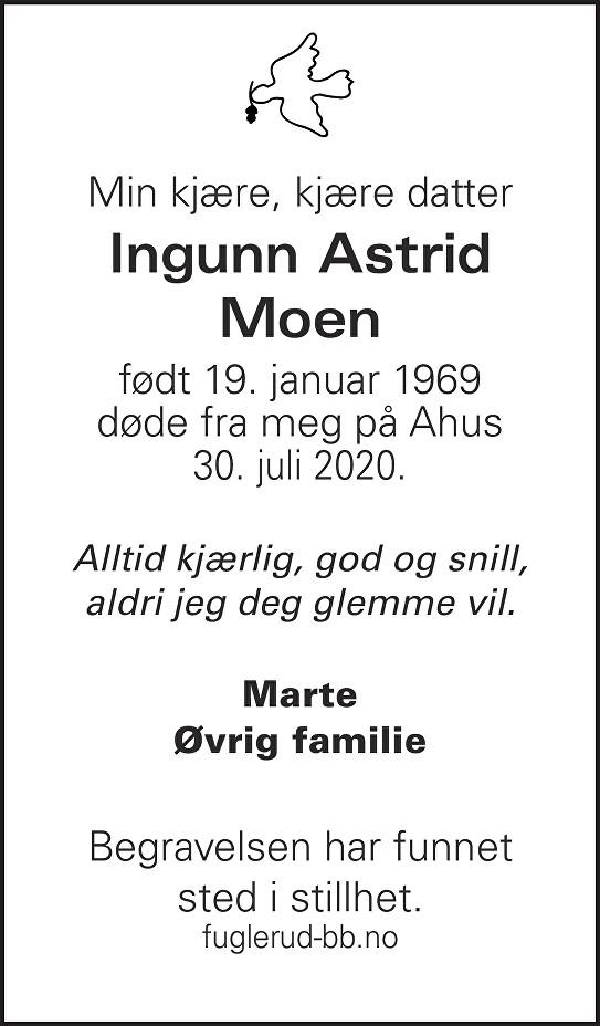 Ingunn Astrid Moen Dødsannonse