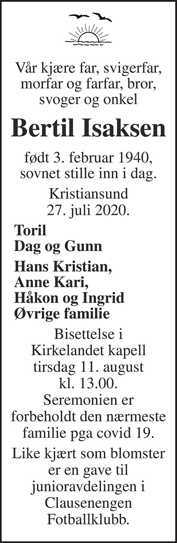 Bertil Isaksen Dødsannonse