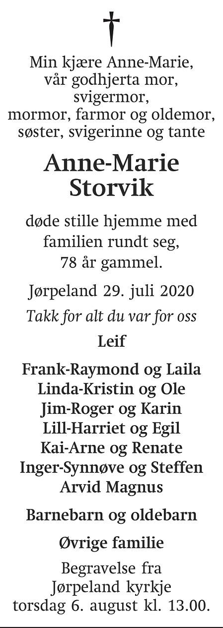 Anne-Marie Storvik Dødsannonse