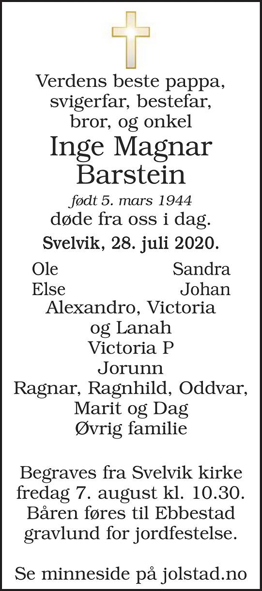 Inge Magnar Barstein Dødsannonse