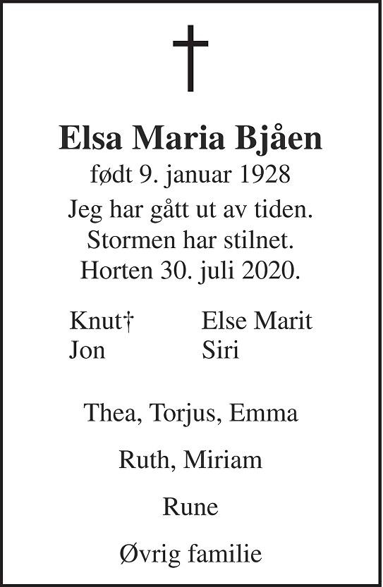 Elsa Maria Bjåen Dødsannonse