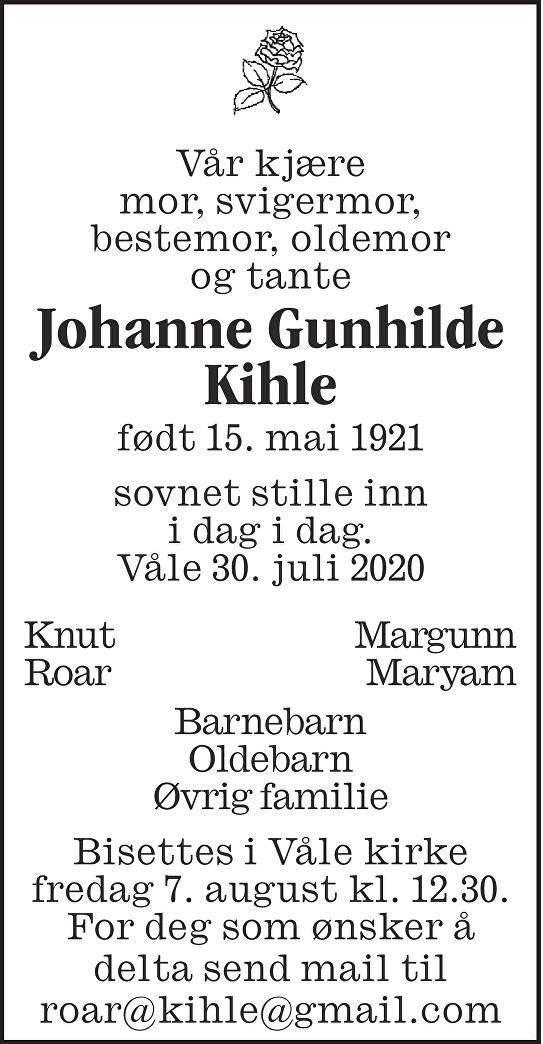 Johanne Gunhilde Kihle Dødsannonse