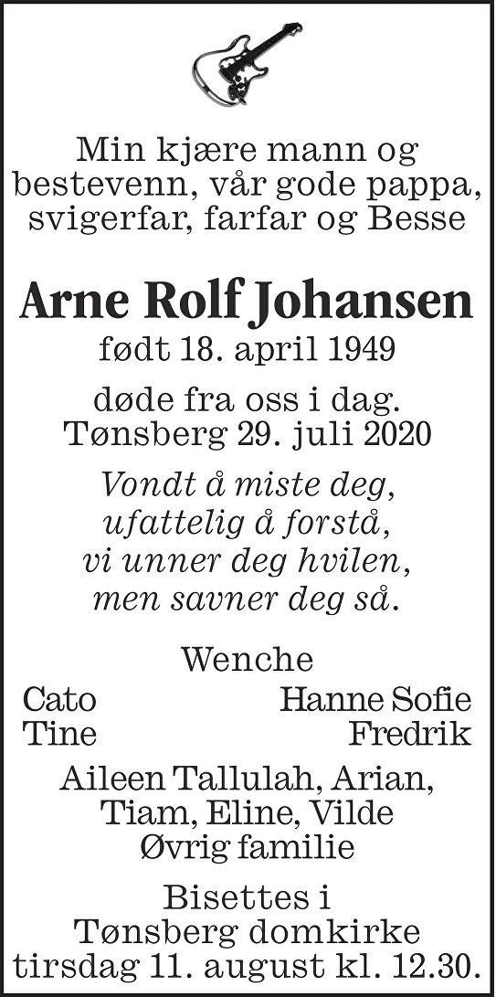 Arne Rolf Johansen Dødsannonse