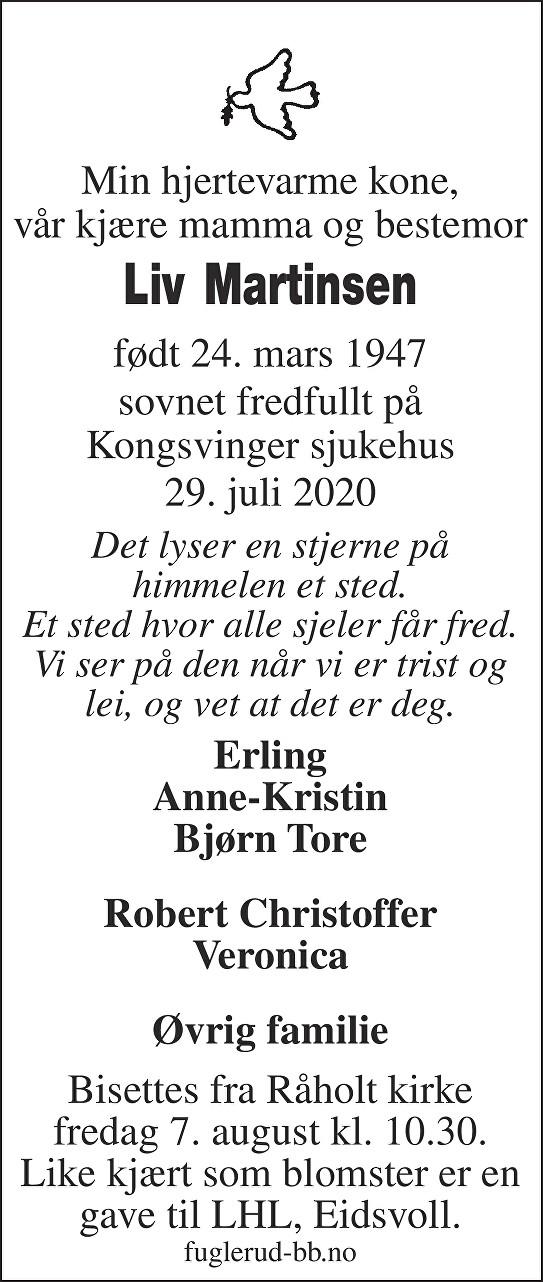 Liv Kristine Martinsen Dødsannonse
