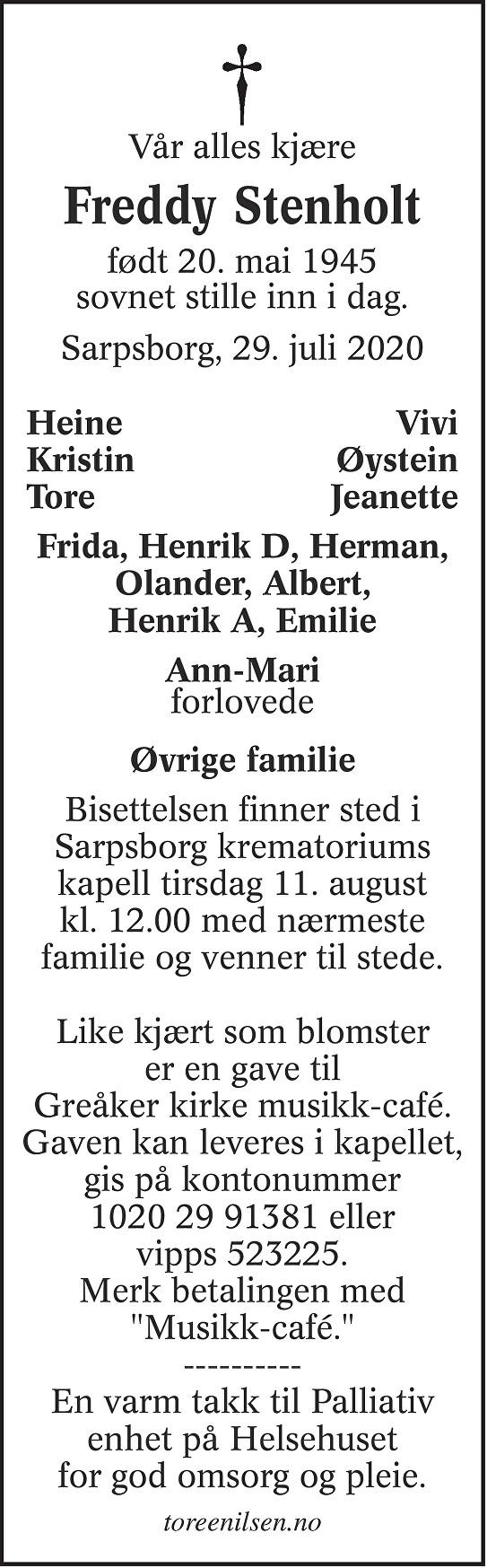 Freddy Oskar Stenholt Dødsannonse