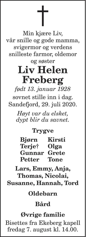 Liv Helen Freberg Dødsannonse