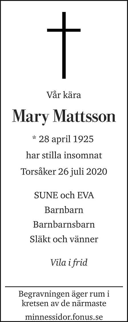 Mary Mattsson Death notice