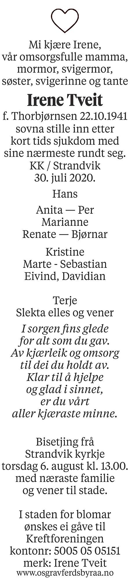 Irene Tveit Dødsannonse