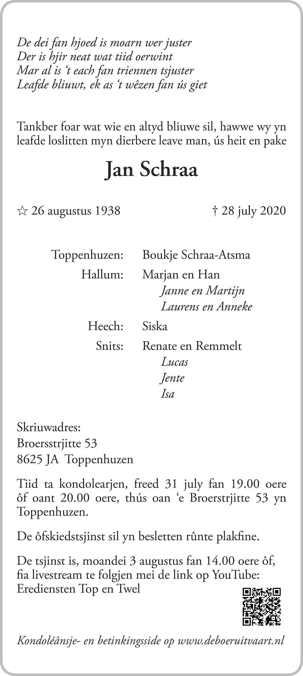 Jan Schraa Death notice
