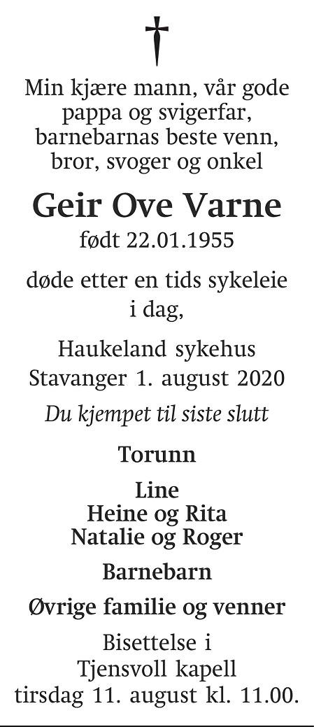 Geir Ove Olsen Varne Dødsannonse