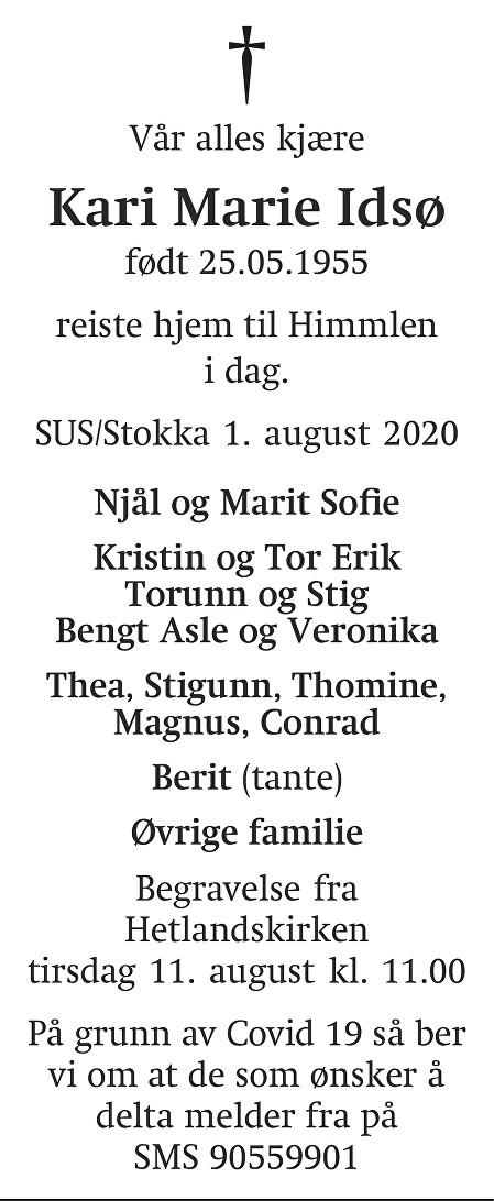 Kari Marie Idsø Dødsannonse
