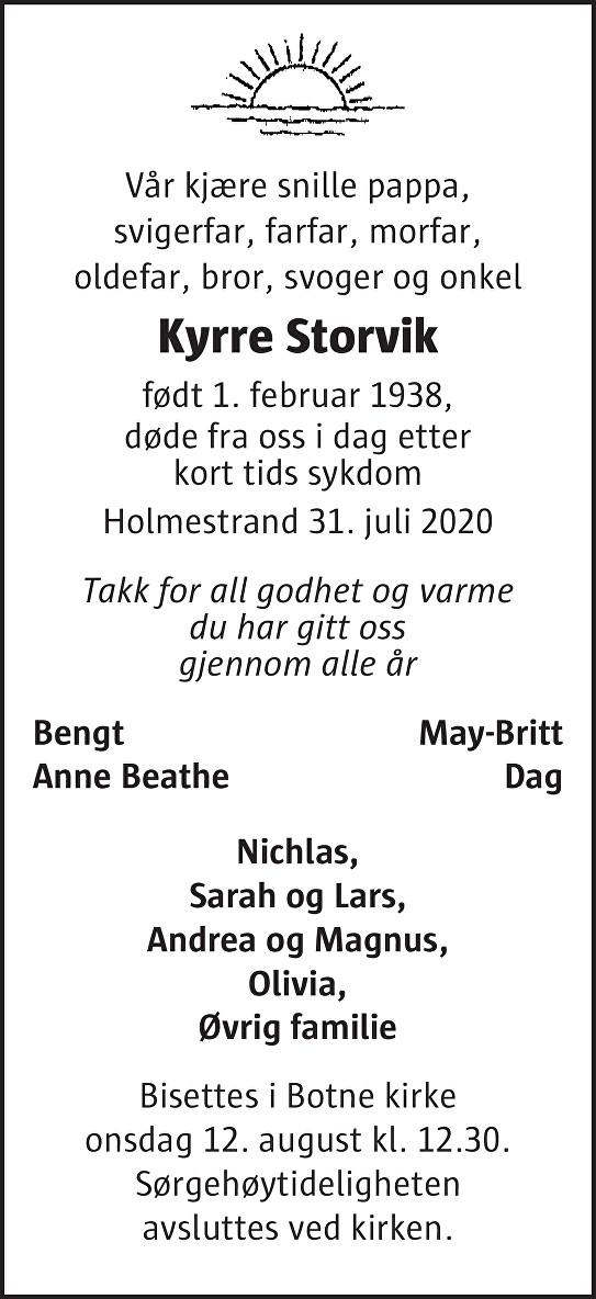 Kyrre Storvik Dødsannonse