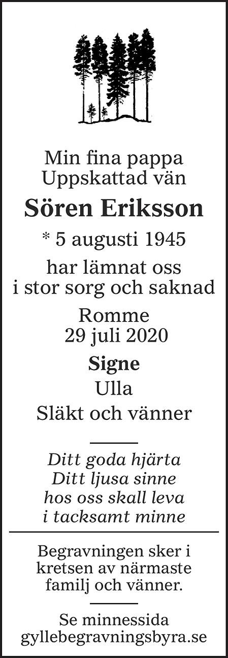 Sören Eriksson Death notice