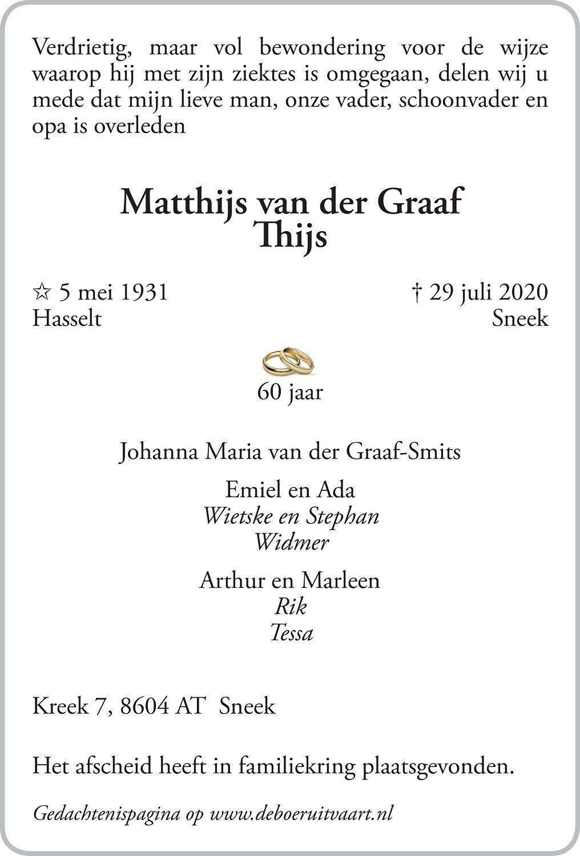 Matthijs van der Graaf Death notice