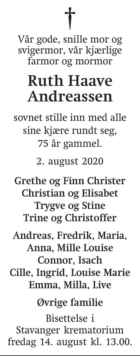 Ruth Haave Andreassen Dødsannonse