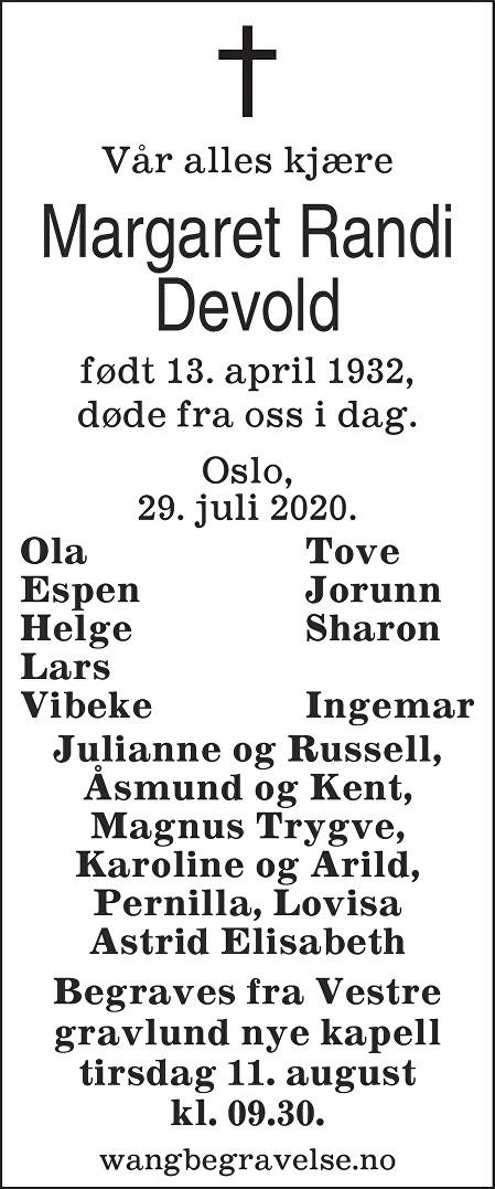 Margaret Randi Devold Dødsannonse