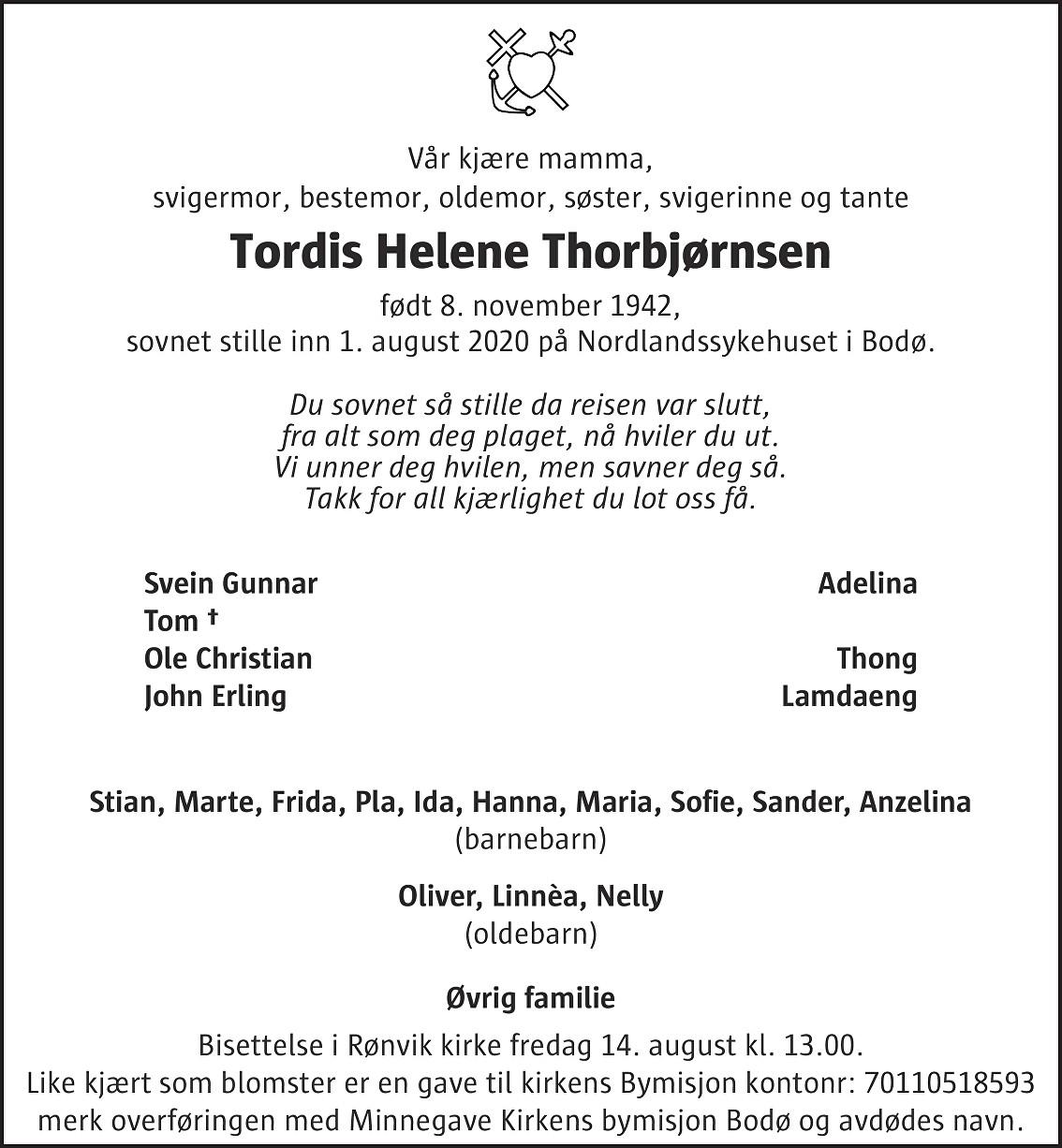 Tordis Helene Thorbjørnsen Dødsannonse