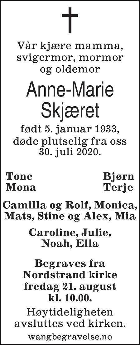 Anne Marie Skjæret Dødsannonse