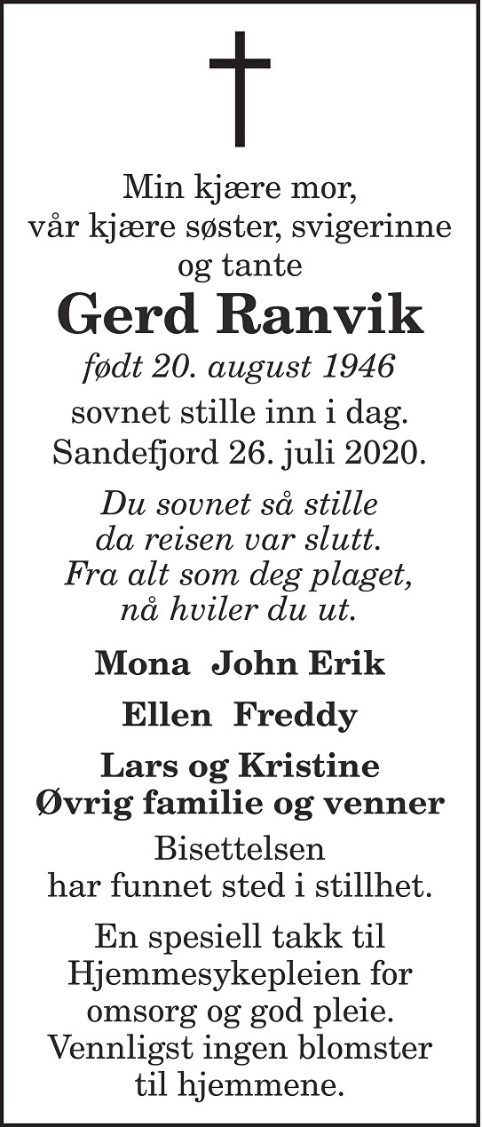 Gerd Ranvik Dødsannonse