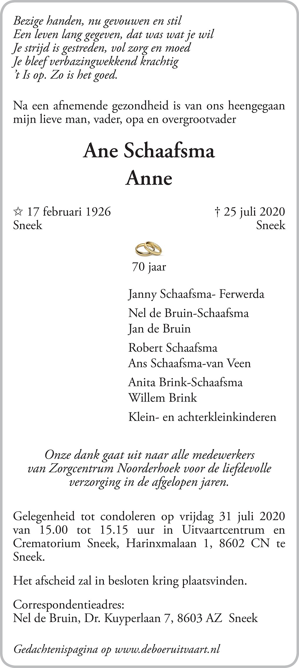 Anne Schaafsma Death notice