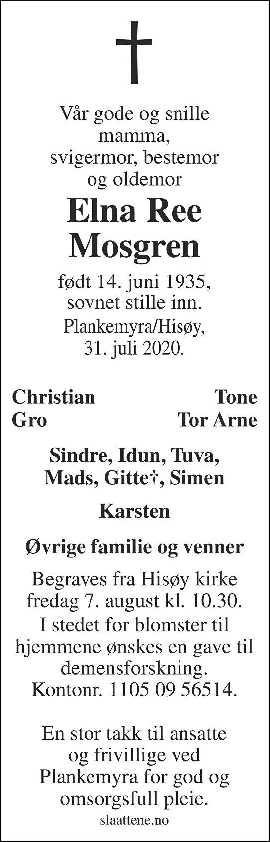 Elna Ree Mosgren Dødsannonse