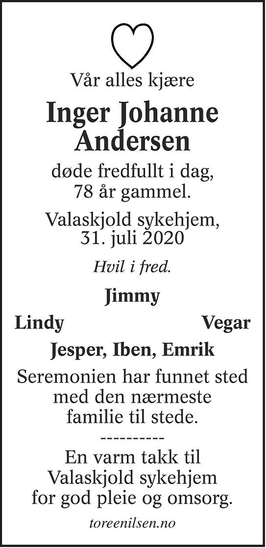 Inger Johanne Andersen Dødsannonse