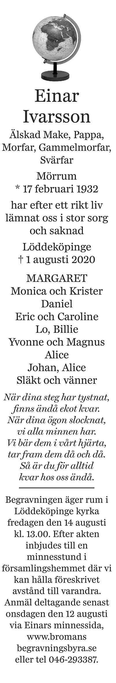 Einar Ivarsson Death notice