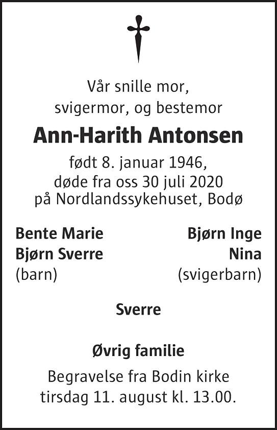 Ann-Harith Antonsen Dødsannonse