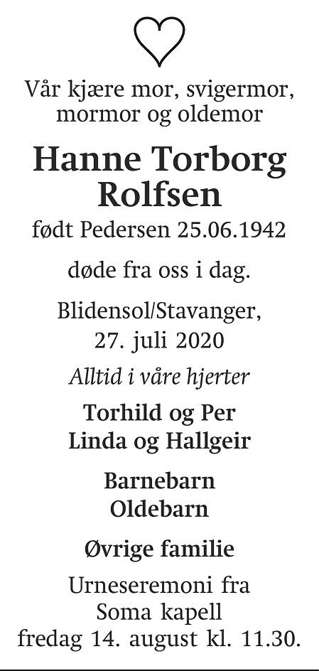 Hanne Torborg Rolfsen Dødsannonse