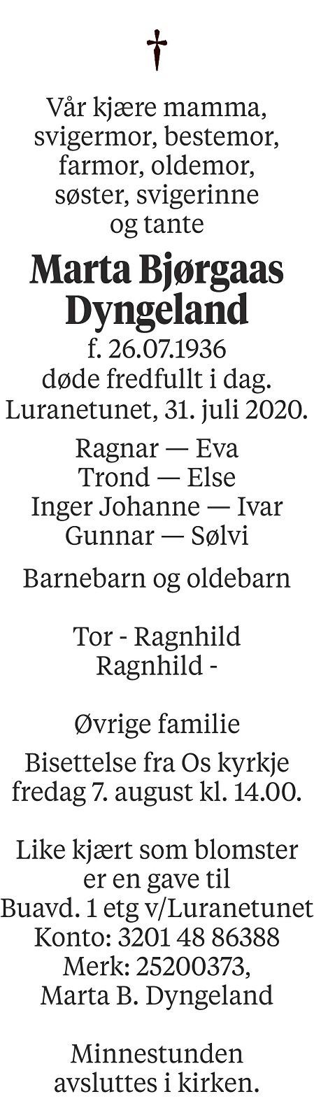 Marta Bjørgaas Dyngeland Dødsannonse