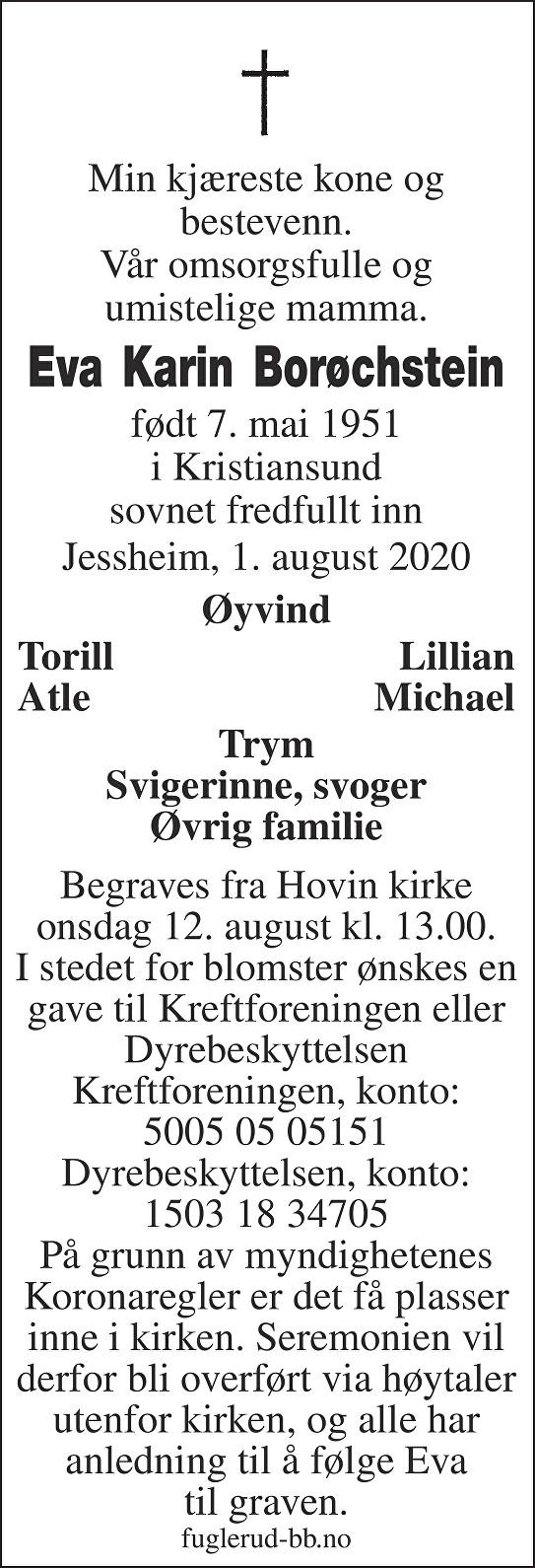 Eva Karin Borøchstein Dødsannonse