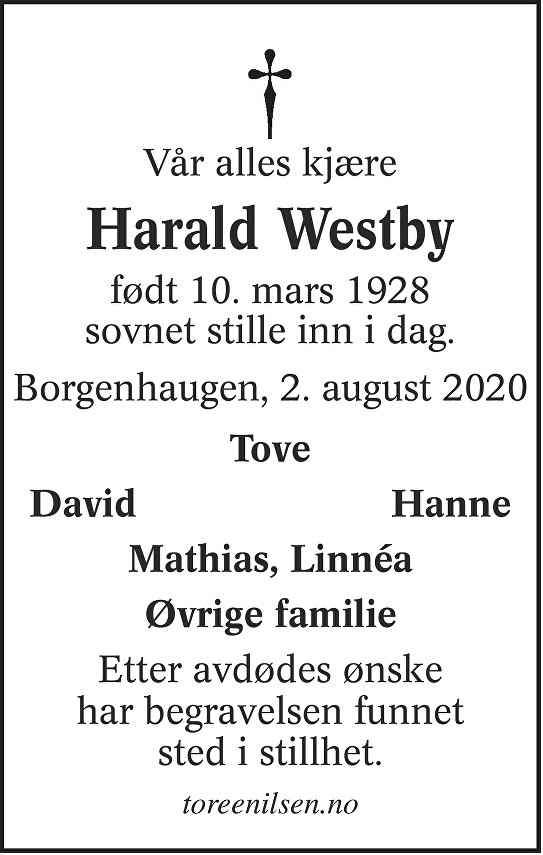 Harald Einar Westby Dødsannonse