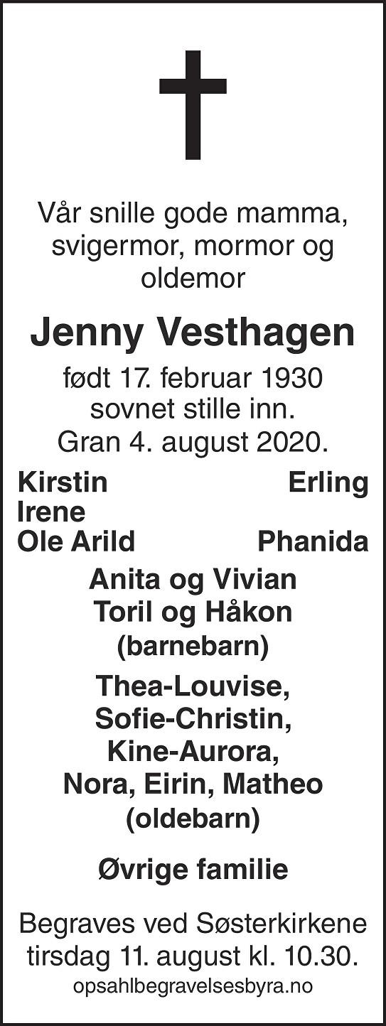 Jenny Vesthagen Dødsannonse