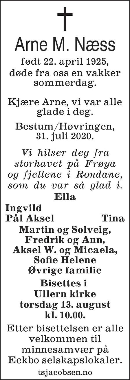 Arne Martin Næss Dødsannonse