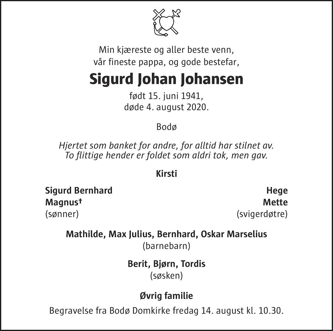 Sigurd Johan Johansen Dødsannonse