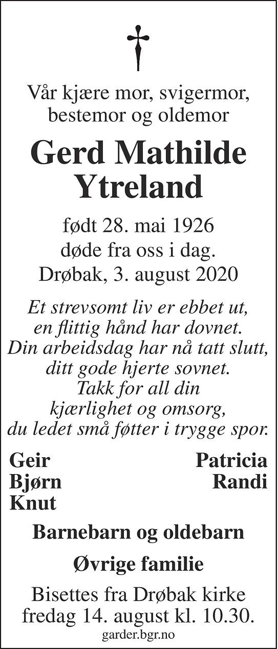 Gerd Mathilde Ytreland Dødsannonse