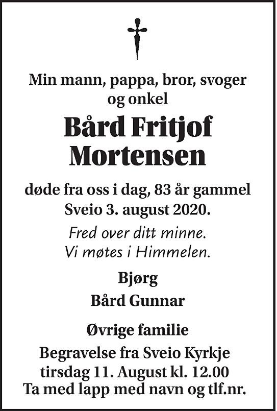 Bård Fritjof Mortensen Dødsannonse